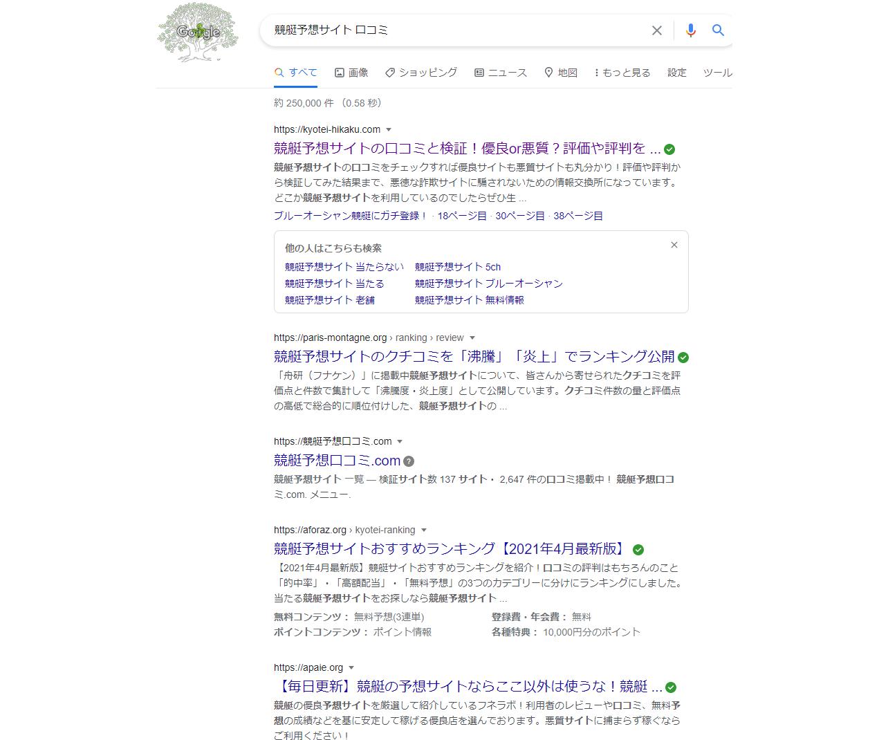 競艇予想サイトの口コミサイトの検索結果