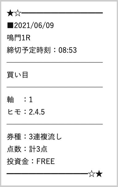 万舟JAPAN(ジャパン)無料予想鳴門1Rの検証結果