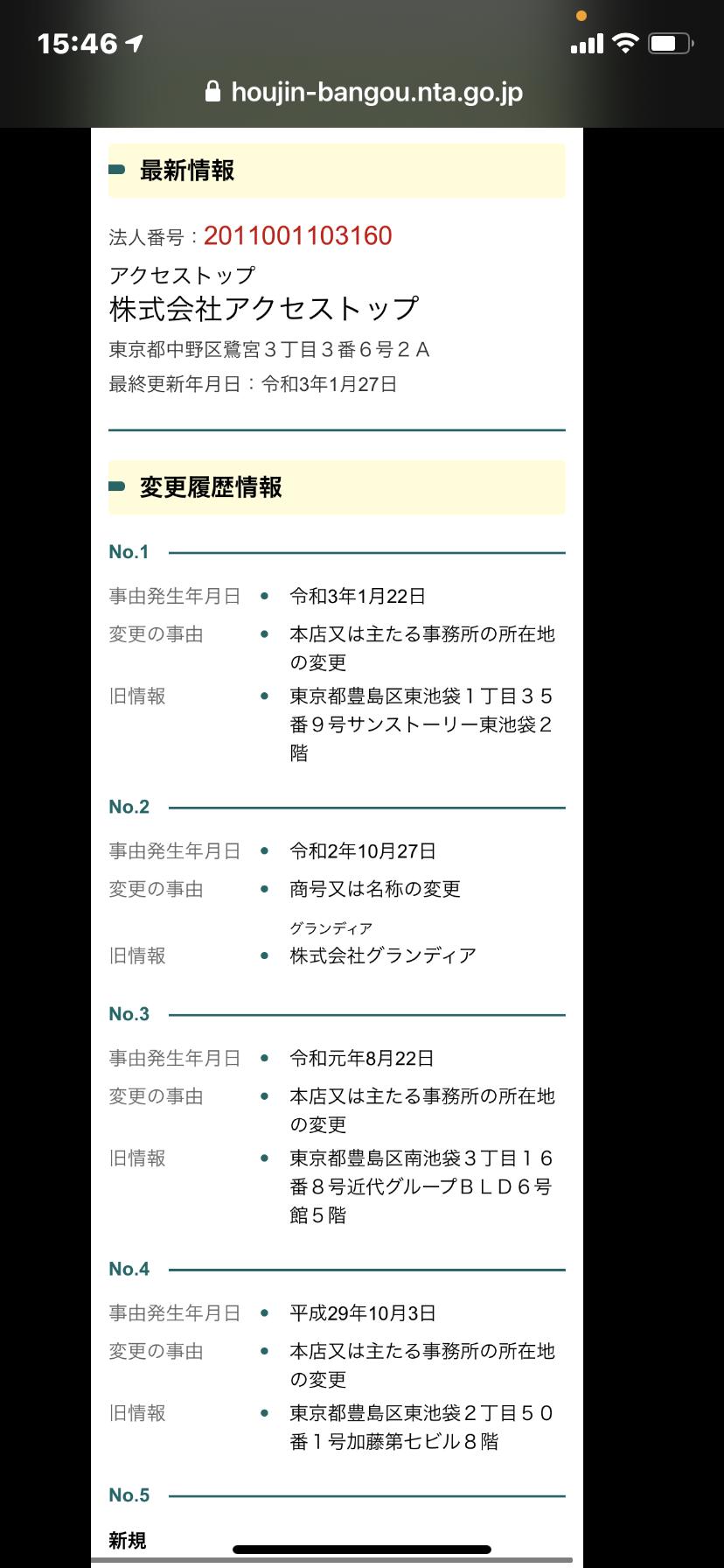 競馬予想サイトLIFE(ライフ)の法人番号検索結果