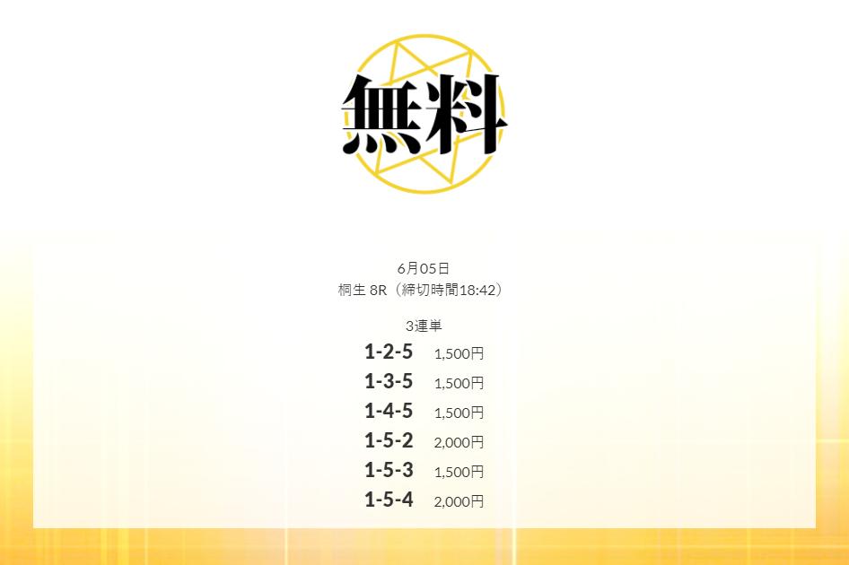 皇艇(コウテイ)6月5日桐生競艇場8R無料予想検証結果