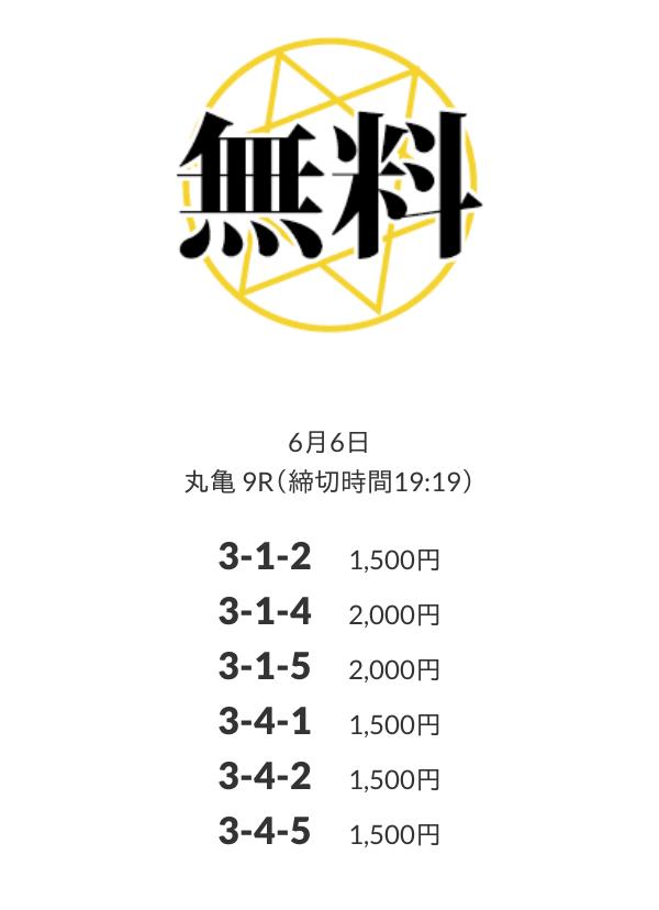 皇艇(コウテイ)6月6日丸亀競艇場9R無料予想検証結果