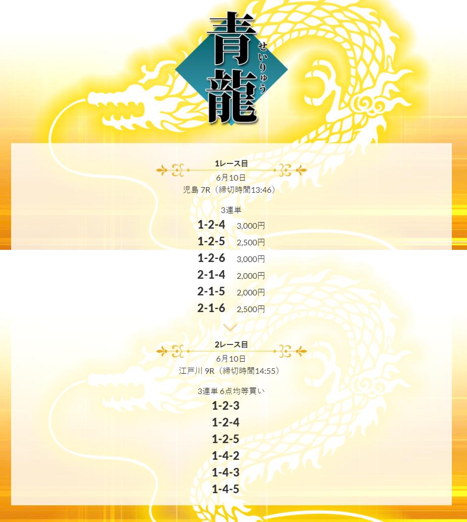 皇艇6月10日の有料プラン「青龍」の検証結果