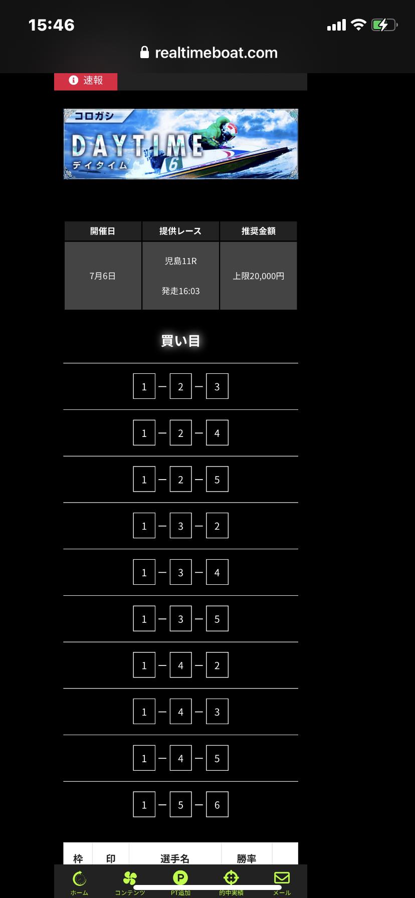 リアルタイムボート7月6日有料プランDAYTIME(デイタイム)の検証結果