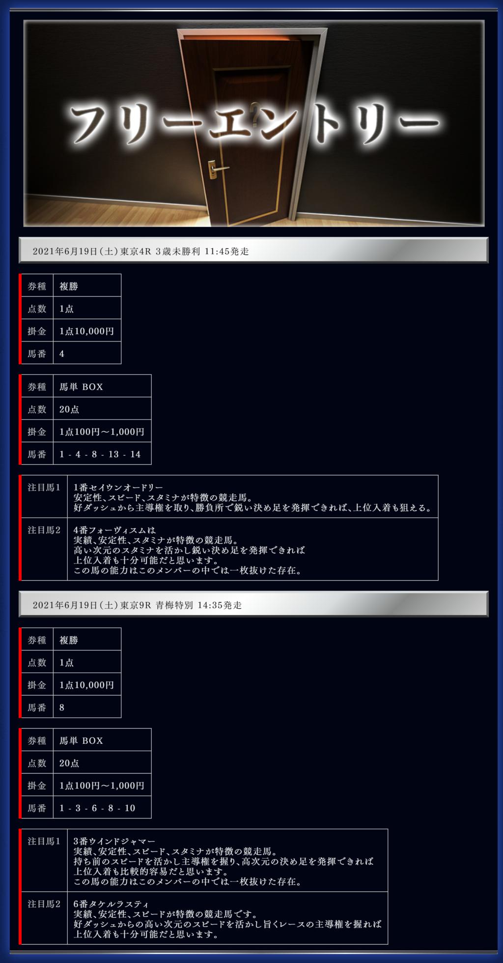 競馬予想サイトのEDGE(エッジ)の無料情報6月19日東京競馬場4R、9R無料予想検証結果