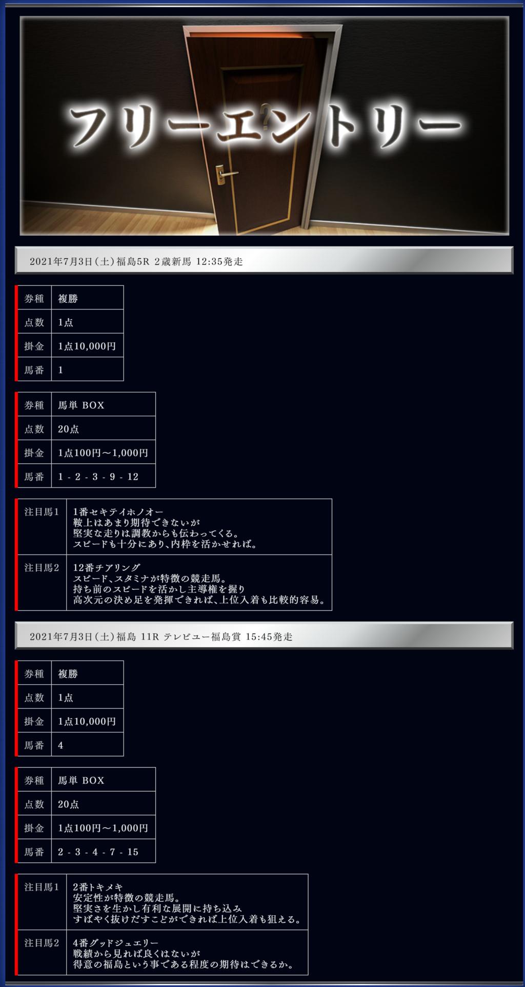 競馬予想サイトのEDGE(エッジ)の無料情報7月3日福島競馬場5R、11R無料予想検証結果